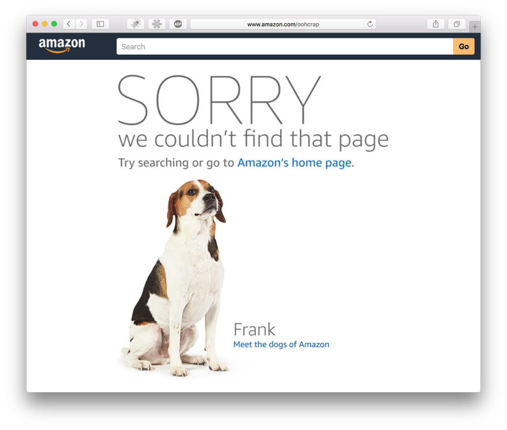 Error 404-page and Amazon showcase employees' dogs