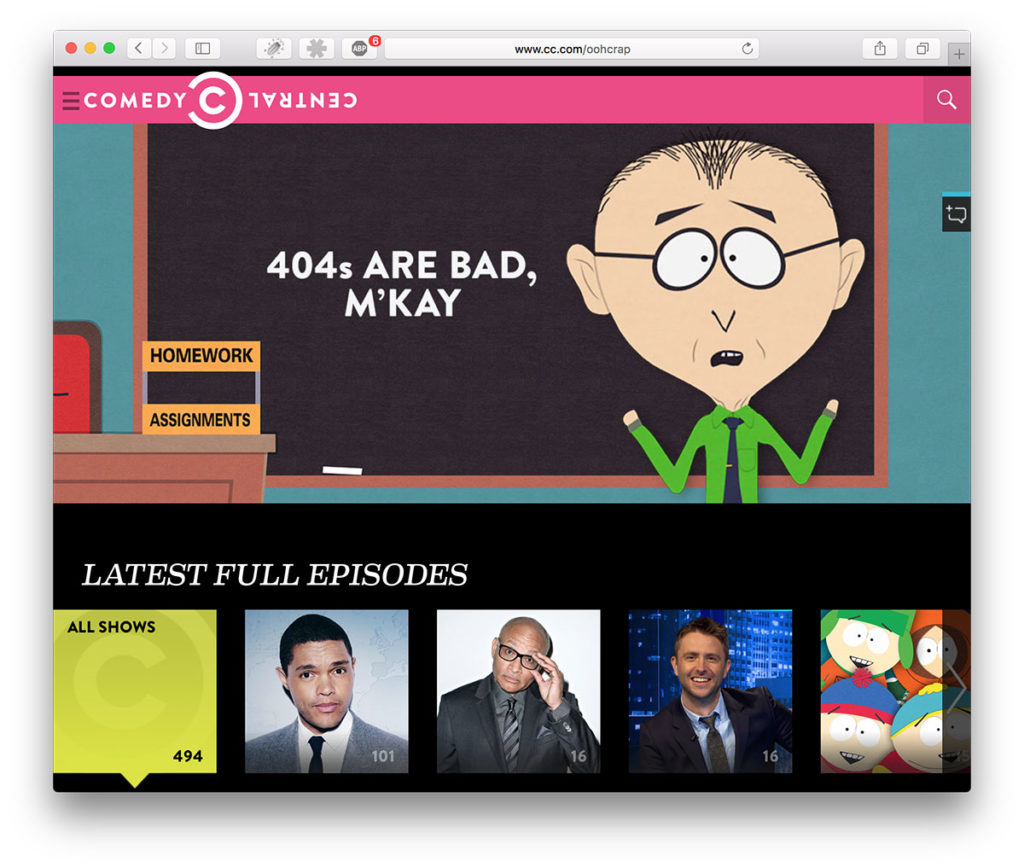 Error 404-page of Comedy Central with Soutpark character Mr Mackey