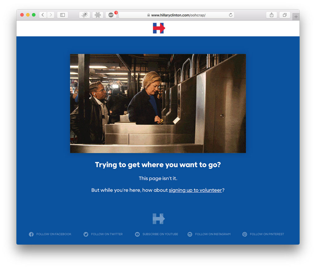 Hillary Clinton's Error 404-page is showing her failing swiping a card